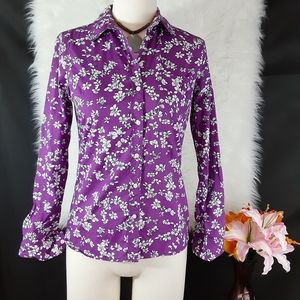 BANANA REPUBLIC Purple & White Floral Top Size XS